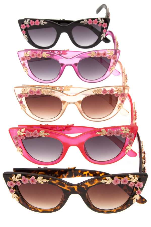 Acrylic floral framed sunglasses pack-Black-MY UPSCALE STORE