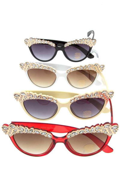 Crystal gem top framed sunglassed pack-Black-MY UPSCALE STORE