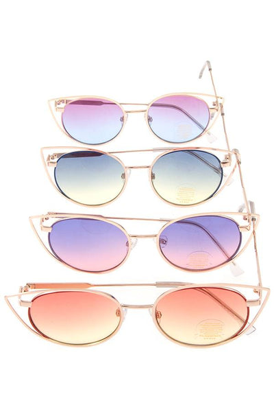 Cat eye metal framed color lens sunglasses pack-Purple/Blue-MY UPSCALE STORE