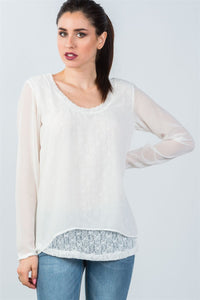 Ladies fashion long mesh sleeve top with lace underlining-S-MY UPSCALE STORE