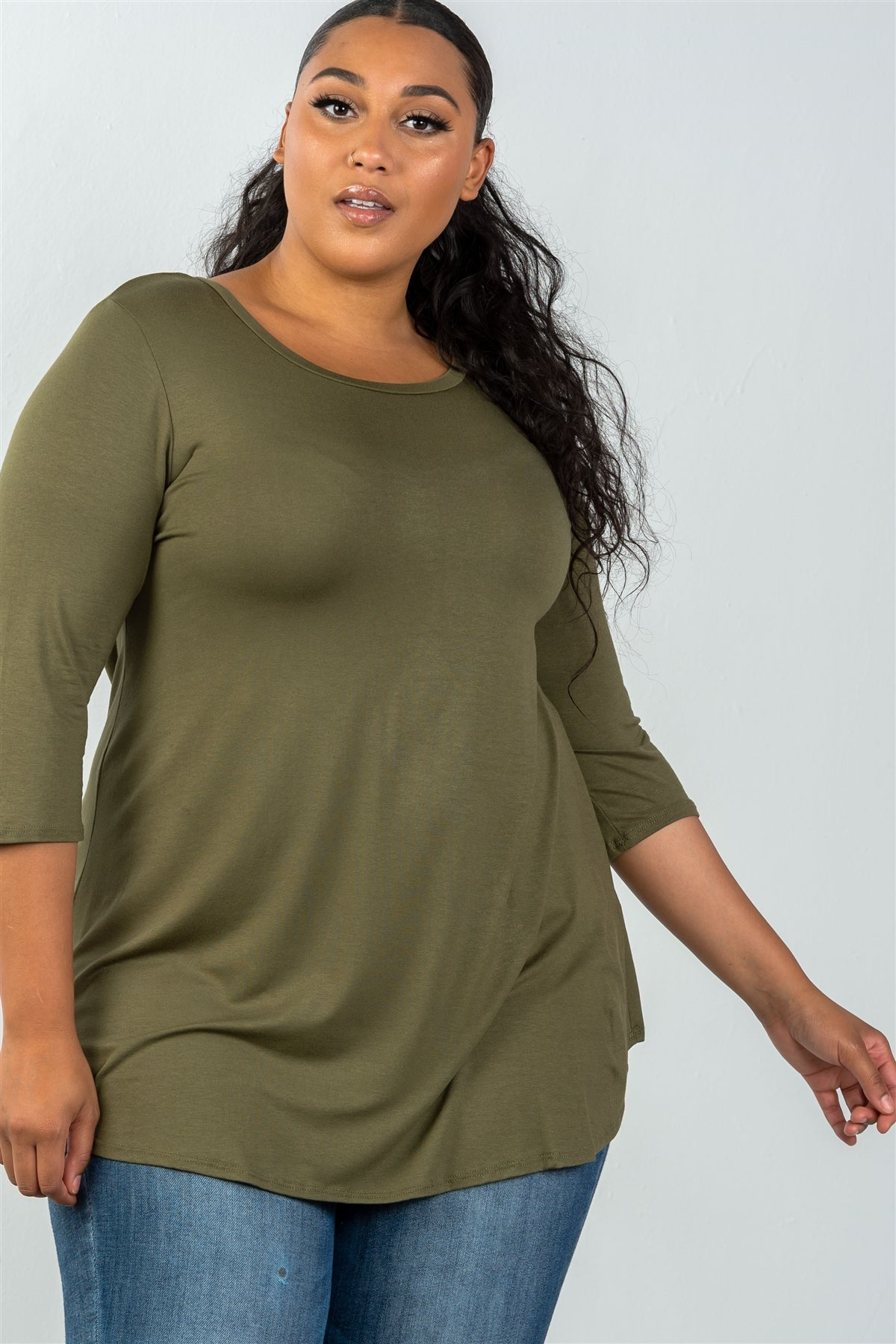 Ladies fashion plus size 3/4 sleeve olive solid scoop neck top-1XL-MY UPSCALE STORE