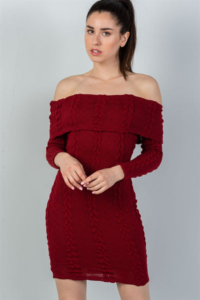 Ladies fashion burgundy ribbed long sleeve bodycon sweater dress-S-MY UPSCALE STORE