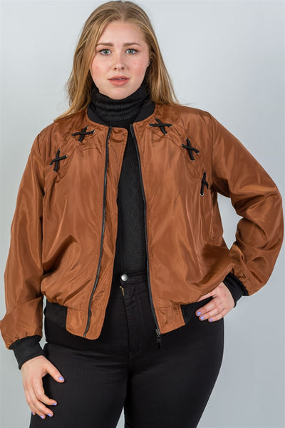 Ladies fashion plus size criss-cross sides bomber jacket-Tan-1XL-MY UPSCALE STORE