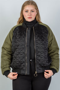 Ladies fashion plus size black & olive quilted bomber jacket-1XL-MY UPSCALE STORE