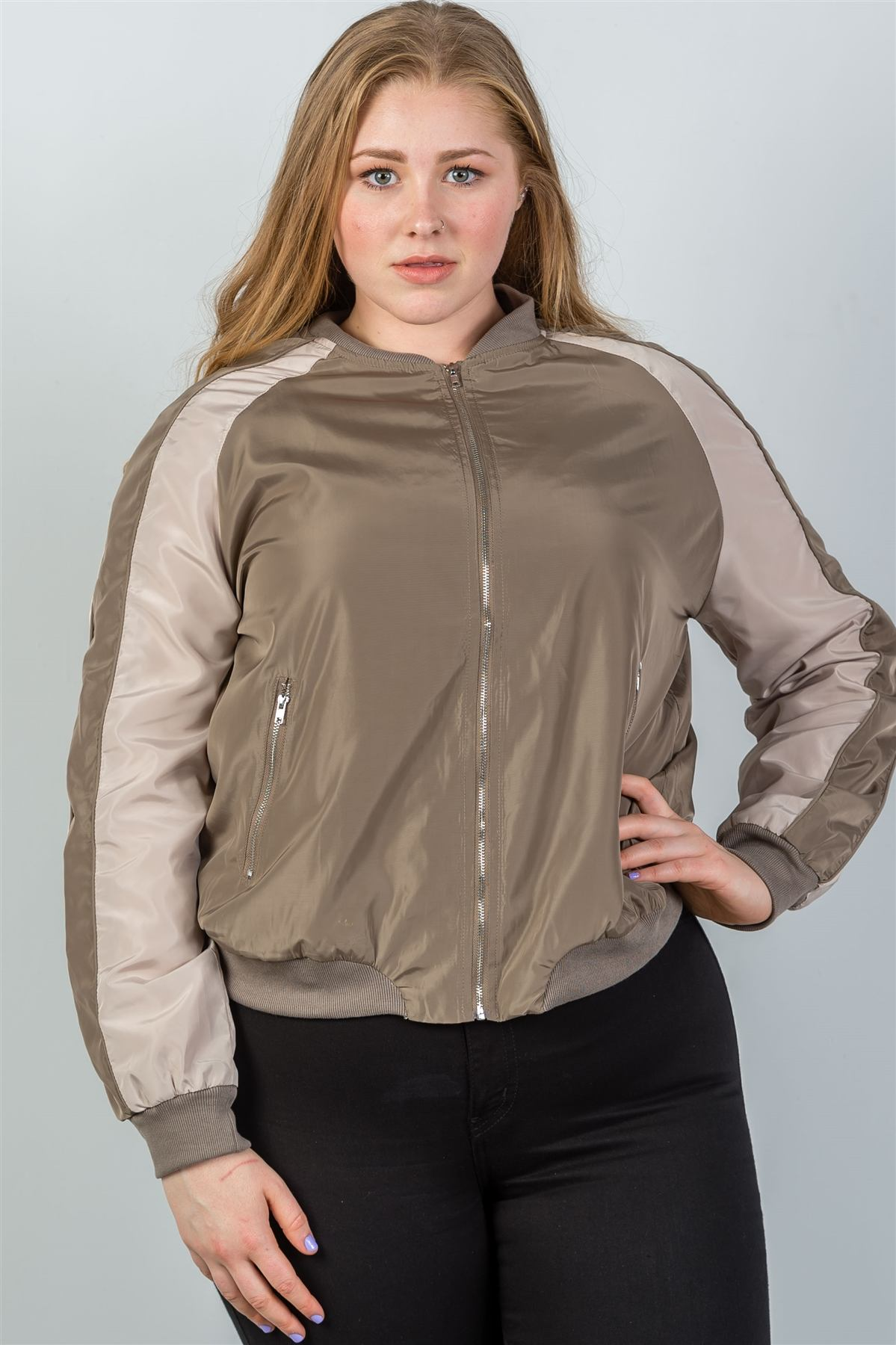 Ladies fashion plus size color block stand collar zipper long sleeve bomber jacket-Khaki-1XL-MY UPSCALE STORE
