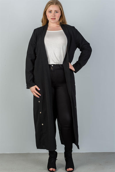 Ladies fashion plus size black back hem slit side button detail ankle length cardigan-1XL-MY UPSCALE STORE