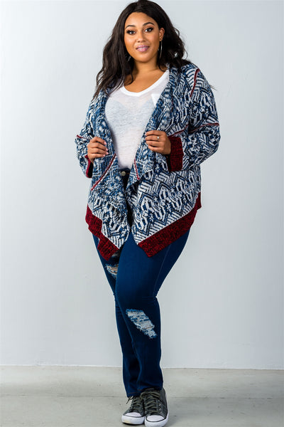 Ladies fashion plus size drape open front asymmetrical hem cardigan