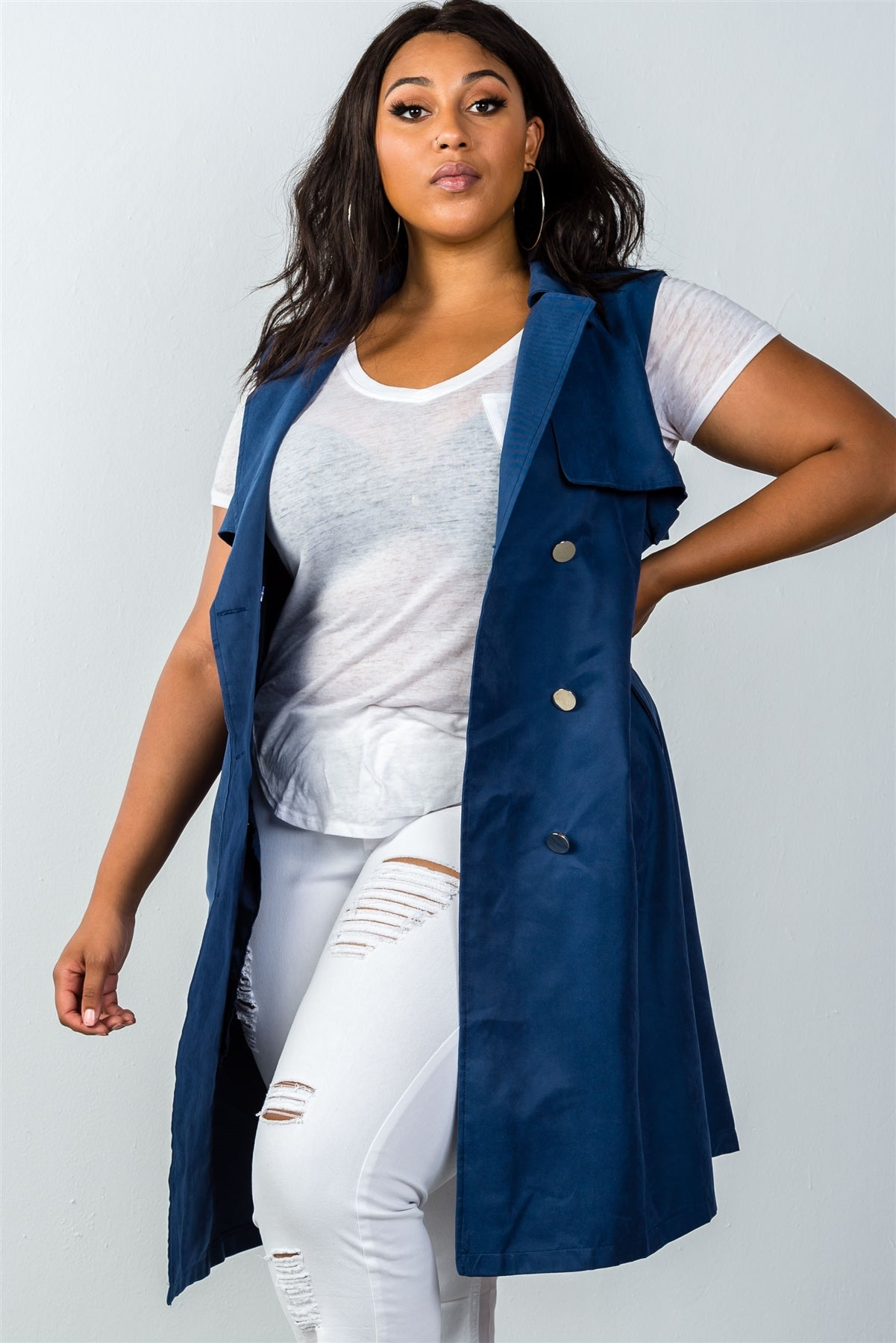 Ladies fashion plus size  navy double breasted sleeveless belted vest