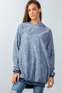 Ladies fashion dark blue oversized distressed hooded sweater