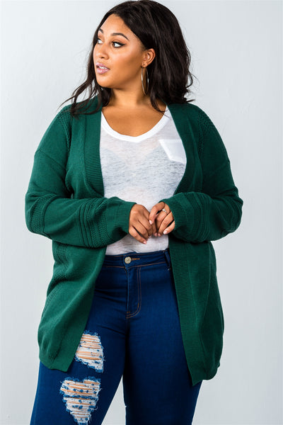 Ladies fashion plus size green open front contemporary cardigan