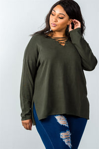 Ladies fashion plus size olive lace up v-neck slit side solid loose pullover