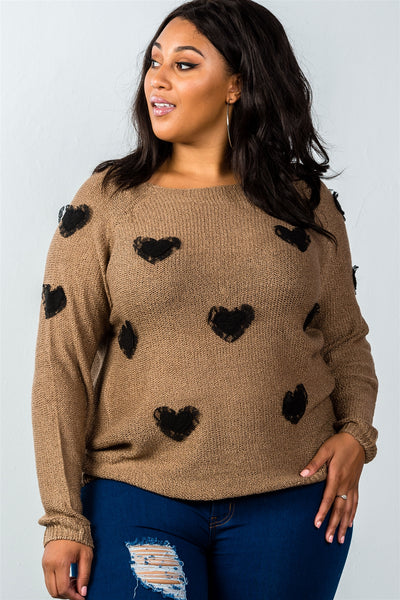 Ladies fashion plus size long sleeve mocha textured heart shaped sweater