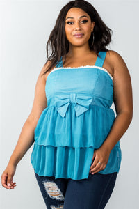 Ladies fashion plus size lace trim blue ruffled babydoll sleeveless top