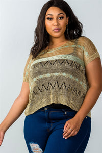 Ladies fashion plus size dropped shoulders gold metallic knitted top