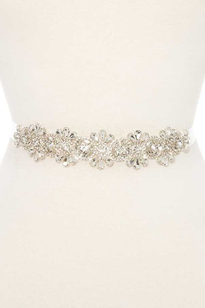 Link floral crystal gem sash belt