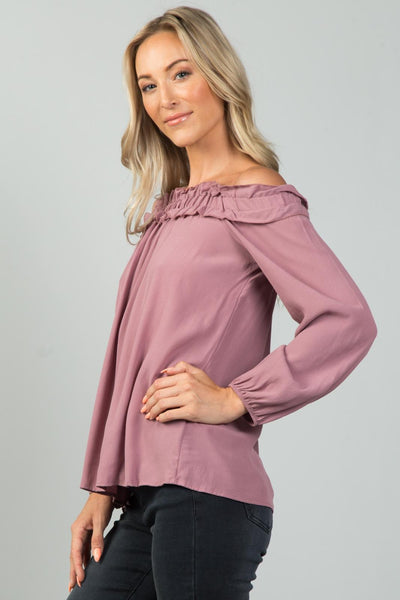Ladies fashion  off the shoulder frill top