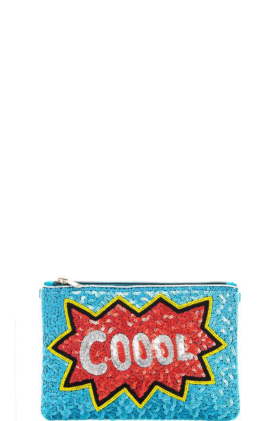 Modern spangle coool clutch with long strap