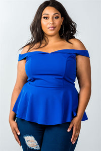 Ladies fashion plus size off the shoulder plunge neck peplum top