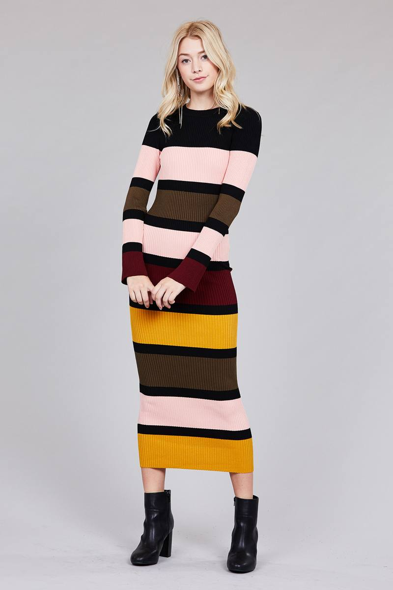 Ladies fashion long sleeve round neck color block long knit dress