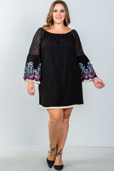Ladies fashion plus size floral bell sleeve lace panel a-line dress