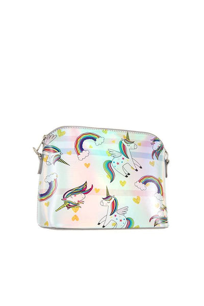 Rainbow unicorn dome crossbody bag