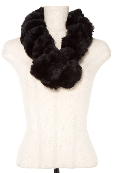 Faux fur twist pull through scarf
