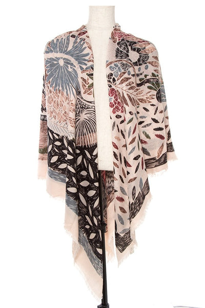 Mix floral print square fringed scarf