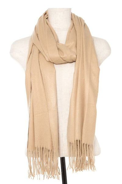 Oblong solid fringe trim scarf