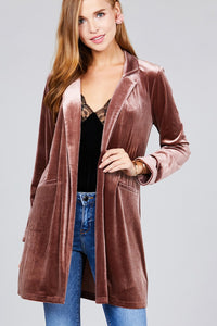 Long sleeve open front rounded lapel solid velvet long jacket
