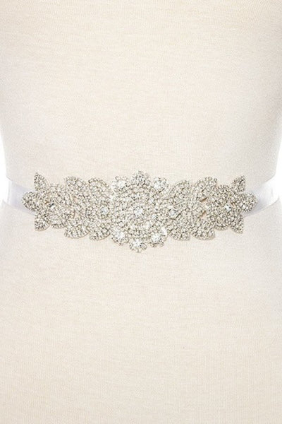 Rhinestone floral detailed slash belt handmade crystal belt