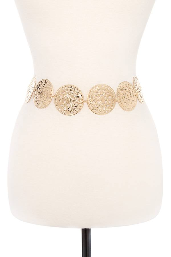 Floral cut out disk link metal chain belt