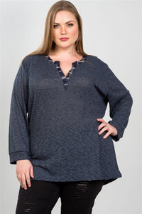 Ladies fashion plus size navy and plaid trim tunic top