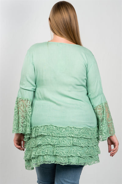 Ladies fashion plus size lace hem v neck tunic top