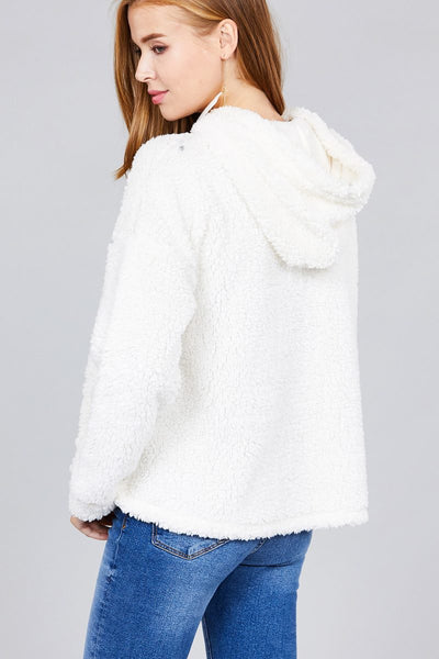 Ladies fashion long sleeve hoodie drawstring faux fur top