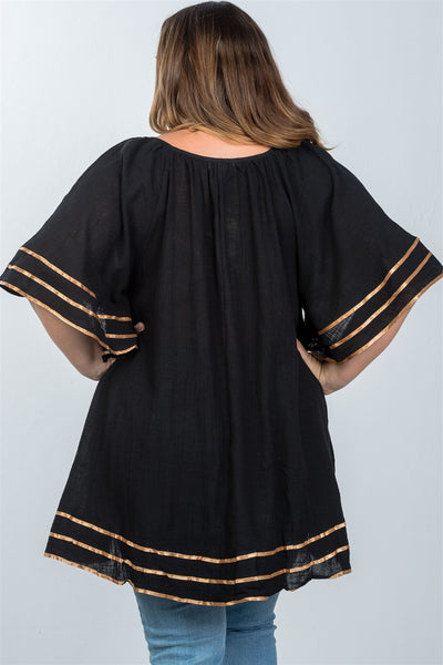 Ladies fashion plus size boho black tassel tie tunic top