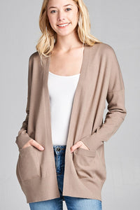 Ladies fashion long dolmen sleeve open front w/pocket sweater cardigan