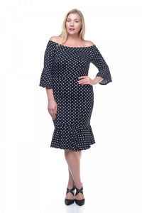 Ladies fashion plus size pin dot ruffled dress