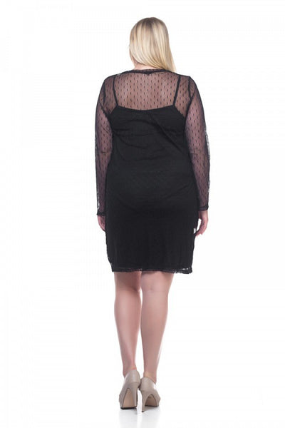 Ladies fashion plus size mesh midi dress