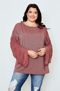 Plus size red ruched drawstring sleeves loose top