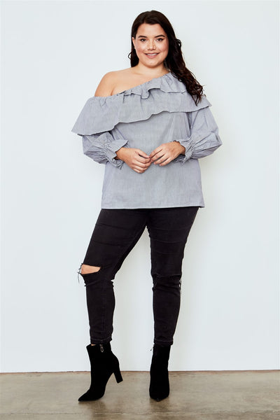 Plus size black one shoulder ruffle layer top