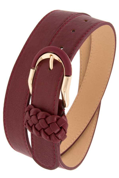 Braid accent buckle leather belt