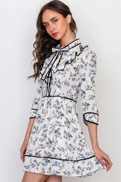 Navy white floral contrast trim ruffle mini dress