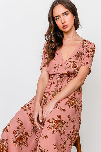 Peach and floral print waist drawstring peasant dress
