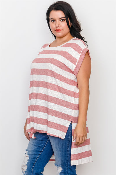 Plus Size Red Stripe Front Knot Hem Top