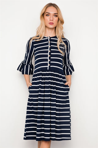 Navy Blue Striped Ruffle Sleeve Midi Boho Dress