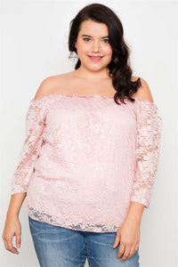 Plus Size Black Lace Off The Shoulder Top