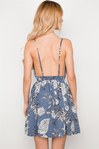 Dusty Blue Floral Print Baby Doll Cami Dress