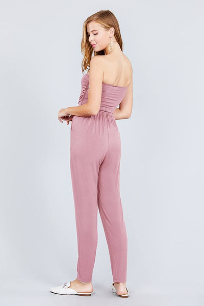 Strapless Tube Top W/front Slanted And Pocket Rayon Spandex Jumpsuit
