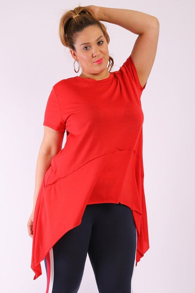 Solid Knit, Tunic Top In An Oversized Fit With A Round Neckline,short Sleeves, And Asymmetrical Hem