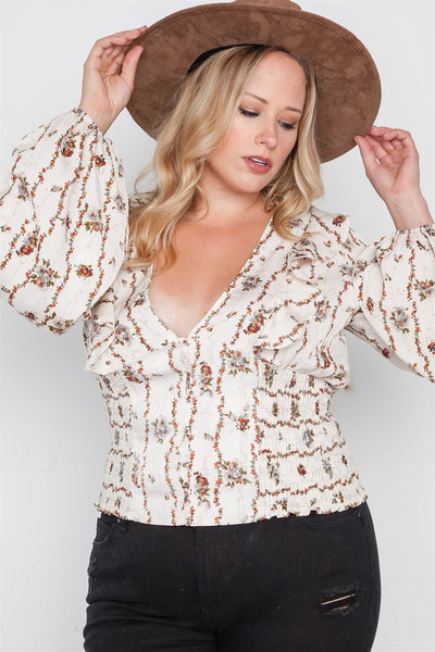 Plus Size Floral V-neck Ruffle Long Sleeve Top